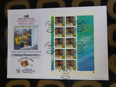 Souvenir Stamp Sheet Fdc Sydney Olympic Gold Medallists - Womens 470 Sailing