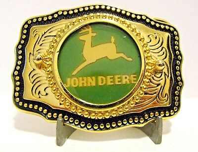 *John Deere 1968 Leaping Deer Trademark Logo Brass Western Dress Belt Buckle jd