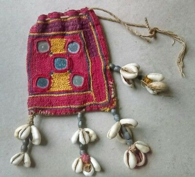 SWEET, EARLY-20thc. INDIAN GIRL'S EMBROIDERED PURSE with MIRROR PANELS & COWRIES