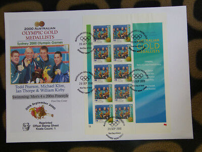 SOUVENIR STAMP SHEET FIRST DAY COVER SYDNEY OLYMPIC GOLD MEDALLISTS - 4x200m