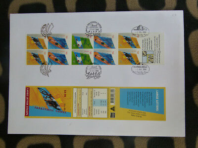 Souvenir Stamp Booklet First Day Cover Sydney 2000 Paralympic Games