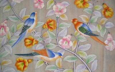 """2 of 3 - Large, stunning, vintage CHINESE gouache """"Exotic birds in fauna"""""""