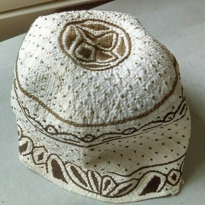OLD EARLY-20thc. ISLAMIC MAN'S HAT with EXTRAORDINARILY FINE QUILTED EMBROIDERY.