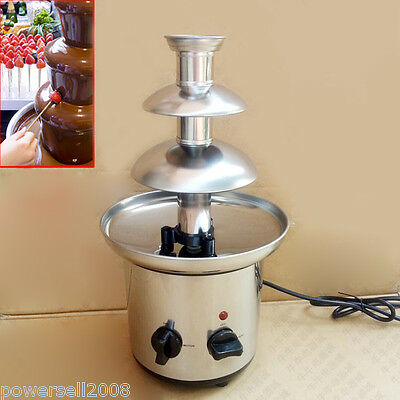 Chocolate Machine 40cm Height 3-Tier Stainless Steel Chocolate Fondue Fountain