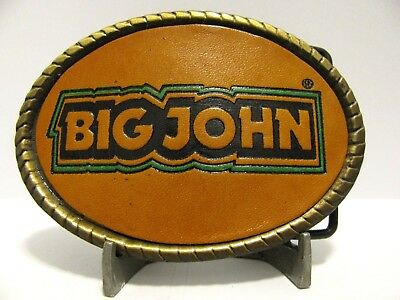 *John Deere 1977 BIG JOHN Snowmobile Belt Buckle Leather Metal Spec Cast  LEAF