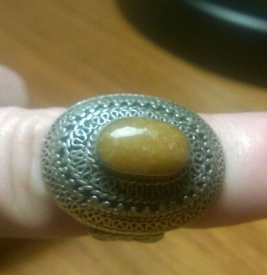 Antique Persian Or Turkmenistan Carnelian Agate Stone Silver Ring From Israel