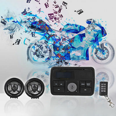 12V Motorcycle Audio FM Radio MP3 Alarm Handlebar Stereo Speaker Amplifier UK