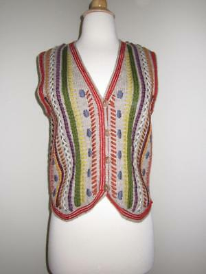 VTG 90s PERUVIAN CONNECTION Gray Multi Knit Button Front Wool Sweater Vest S