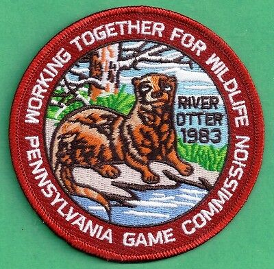 """Pa Pennsylvania Game Fish Commission 1983 REPRODUCTION WTFW River Otter 4"""" Patch"""