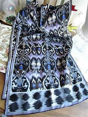 Silk Scarf Abstract Native American Indian Motif Oblong Black grey Blue Purple