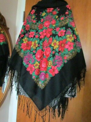 """Wool Scarf 58"""" Paisley Floral Roses Vintage Ethnic Print Piano Shawl Craft"""