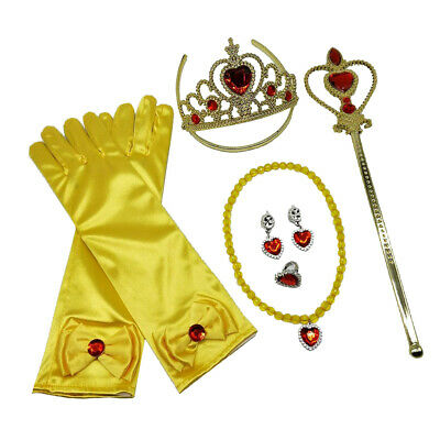 Princess Belle Dress Up accessories Girl Gloves Tiara Fairy Wand Jewelry Kit
