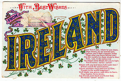 WITH BEST WISHES FROM IRELAND - 1913 used Ireland postcard - postage due