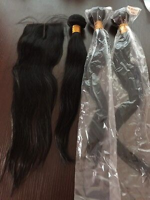 "Virgin Brazilian hair, Straight Human Hair, 3 Bundles, 16""18""20""+18"" Closure"