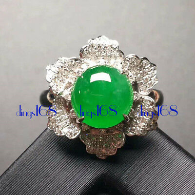 18K Gold Certified 100% Natural A Jadeite Green Flower Women Ring Jewelry JD1881