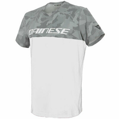 Dainese Motorbike Motorcycle Camo Tracks Casual T-Shirt - White / Anthracite