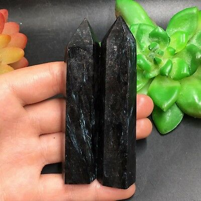 TOP-128g 2pcs Natural Astrophyllite Wand Point Healing Reiki Stone Crystal C3644