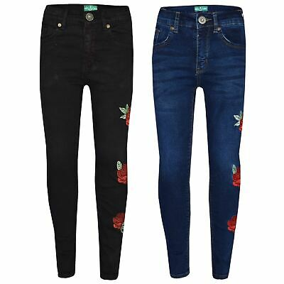 Girls Stretchy Jeans Kids Rose Embroidered Denim Pants Trousers Jeggings 5-13 Yr
