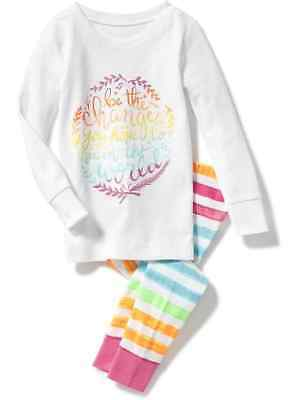 Nwt 5T 5Yrs Old Navy Be The Change U Hope To See World Pjs 2Pc Set Girls Pajamas