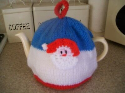 Hand Knitted  Father Christmas  Tea Cosy For A Medium Teapot 3-4 Cup Size
