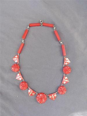 Vintage Catalin Bakelite Deco Carved Cherry Red Choker Necklace Enamel Accent