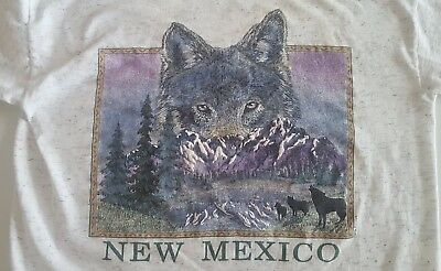 Vintage 80's 90's New Mexico Howling Wolf T-Shirt  Cotton Size Large hipster