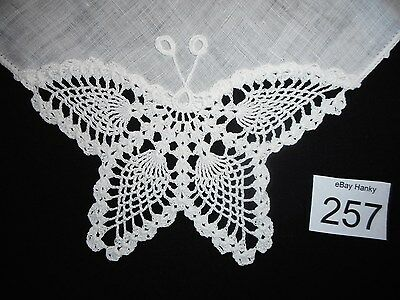 Delicate vintage white butterfly hanky,  #257, wedding,  free ship USA