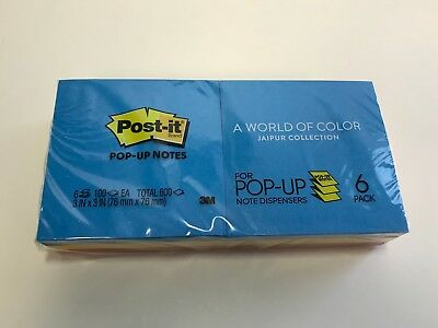 Post-it Original Pop-up Refill 3 x 3 Assorted Jaipur Colors 100-Sheet 6/Pack