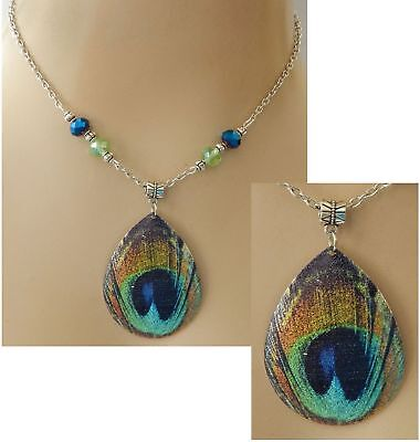 Silver Peacock Feather Pendant Necklace Jewelry Handmade NEW Fashion Adjustable
