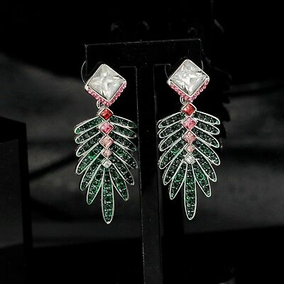 Earring Silver Green Pink Red Crystal Leaf Square Pendant Art Deco Vintage X21
