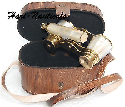 Binocular Vintage Nautical Monocular With Leather Case Antique Engraved Brass