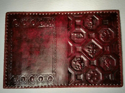 NOS Vtg tooled leather Crown royal Coat of Arms lion crest Book Bible Cover K