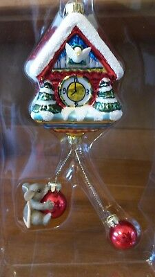 """Charming Tails mouse on cuckoo clock """"coo coo for Christmas"""" ornament"""