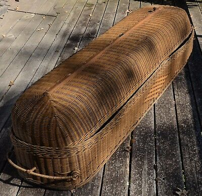 Antique Wicker Casket - Mortician's Cooling Basket - Coffin - over 100 years old