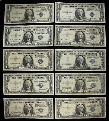 Ten $1 1935, 1957, A & B silver certificates one dollar FREE SHIPPING $10 FV