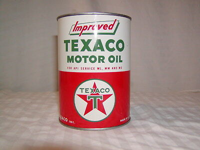 Vintage Texaco Improved Motor Oil Can