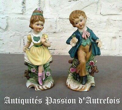 B20171025 - Couple de figurines en biscuit de porcelaine - 20 cm - 1950-70