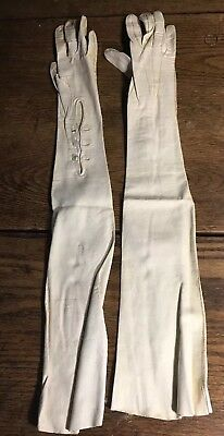 Victorian Antique Full Length White Kid Opera Gloves with case