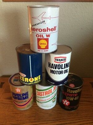 Vintage Lot Of 6 Motor Oil Quart Cans, Shell,Texaco,Castrol,Dupont Zerone