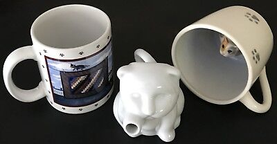 3pc Lot VINTAGE Cat Kitten MUGS & CREAMER Lowell Herrero, Spademan, Sur La Table