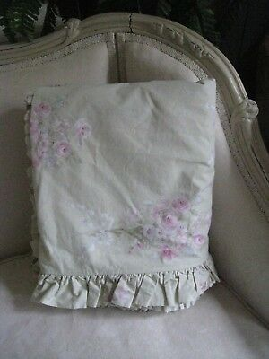 Vintage~Retired~Simply Shabby Chic Floral Blush Beauty Queen Ruffled Duvet