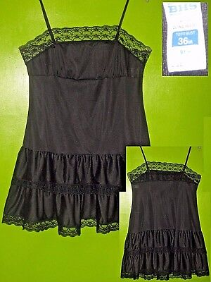 Vintage Bhs Sheer Black Nylon Cling-Resist Slip Negligee Lace Frill Burlesque 36