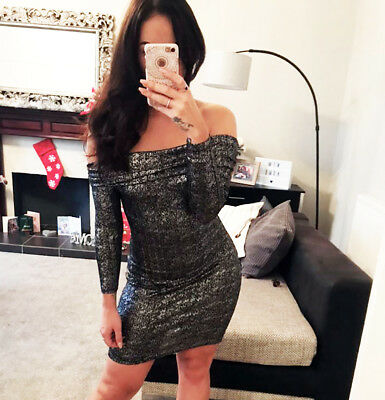 New Black Bodycon Fitted Dress Bardot Off Shoulder Party Womens Ladies Size ❤