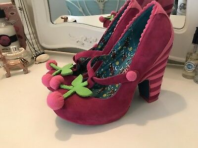 Irregular Choice Cherry Felt Shoes Size 4 Preowned - Good Condition