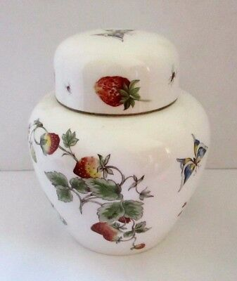 Vintage Coalport England Strawberry Large Ginger Jar Tea Jar Fine Bone China 7""