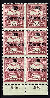 "Hungary 1919 ""Baranya"" Overprint - MNH block of 6 stamps - (322)"