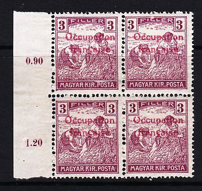 HUNGARY 1919 French Occupation of Arad region overprint - MNH block of 4 - (332)