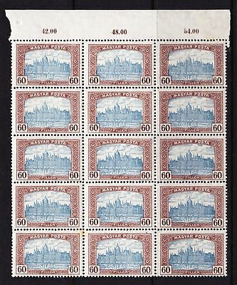 HUNGARY 1920 Parliament Building Budapest - 60f value - MNH block of 15 - (47)