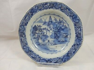 "18th Century Antique Chinese Blue Canton? 9"" Dish / Plate Circa 1770? - NR"