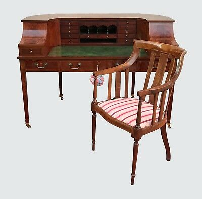 Ultra Choice Antique Carlton House Desk & Chair In Mahogany & Decorative Inlays